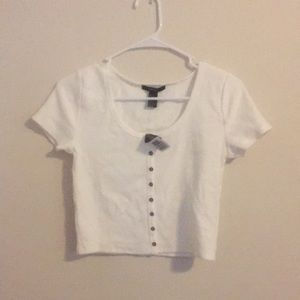 White scoop neck ribbed button crop top NEW